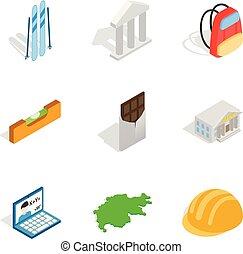 set, isometric, activiteit, stijl, iconen
