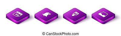 Set Isometric Calendar, Bell, Floppy disk backup and Social media inbox icon. Vector