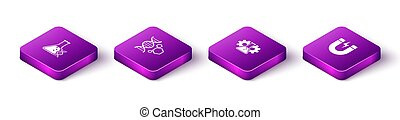 Set Isometric DNA research, search, Genetic engineering, Bioengineering and Magnet with lightning icon. Vector