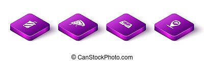 Set Isometric Glass with water, Slice of pizza, Pizza in cardboard box and Location slice icon. Vector