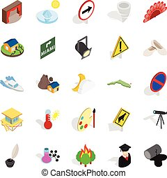 set, isometric, held, stijl, iconen
