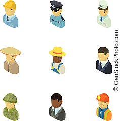 set, isometric, iconen, stijl, personage