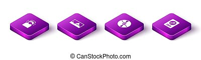 Set Isometric Man in headphones, Music wave equalizer, CD or DVD disk and MP3 file document icon. Vector