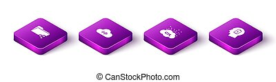 Set Isometric Share folder, Music streaming service, Methane emissions reduction and Head with low battery icon. Vector
