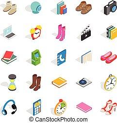 set, isometric, stijl, cadeau, iconen