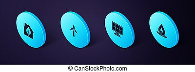 Set Isometric Water energy, Solar panel, Wind turbine and Eco friendly house icon. Vector