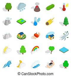 set, isometrico, afflizione, stile, icone
