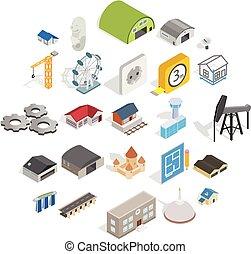 set, isometrico, architectonics, stile, icone