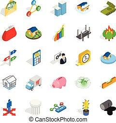 set, isometrico, icone, stile, feedback
