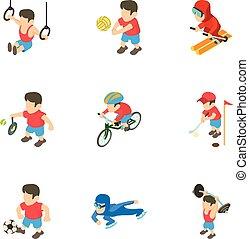 set, isometrico, stile, esercizio, icone