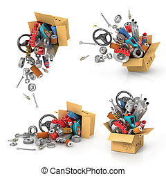 Set it auto parts in the cardboard boxes. Automotive basket...
