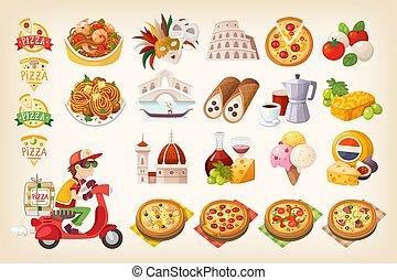 set, italia, colorito, elements., simboli, immagini, italiano