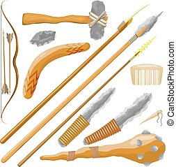 Set Items ancient people on white background. Vector illustration