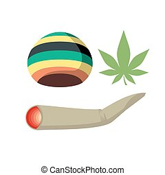 Set Jamaica drug addict. Rasta CAP, spliff and cannabis leaf. Vector illustration of drugs.