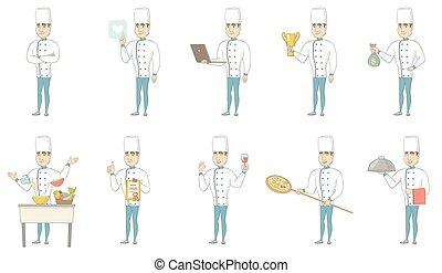 set., jeune chef, vecteur, illustrations, caucasien