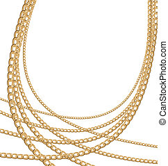 Set jewelry gold chains different size - Illustration of set...