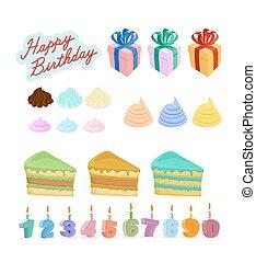 set, kaarsjes, birthday., vrolijke , taart, cijfers.