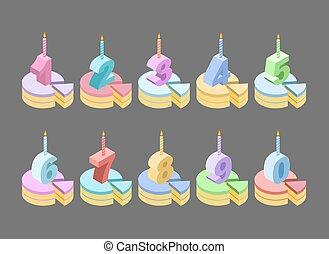 set, kaarsjes, getal, jarig, pastei, anniversary., isometrics., getallen, dessert, taart, spotprent, stuk, style., kamers