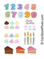 set., kaarsjes, jarig, vrolijke , taart, cijfers.