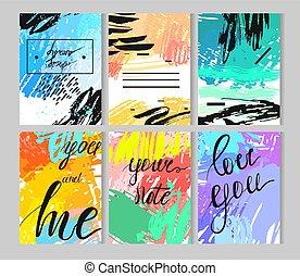 set, kaarten., getrokken, universeel, jubileum, creatief, s, jarig, artistiek, hand, dag, trouwfeest, valentijn, partij., textures.