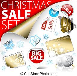 set, kaartjes, etiketten, korting, postzegels, kerstmis