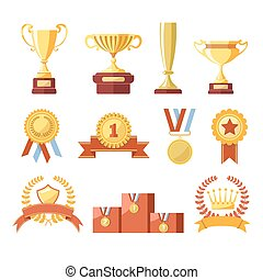 set, kampioen, iconen, winnaar, vrijstaand, vector, koppen, ...