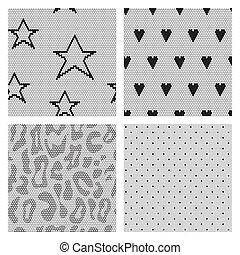 set, kant, patterns., seamless, vector, black , weefsel