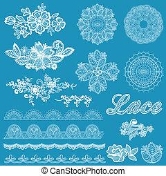 set, kant, -, vector, ontwerp, linten, plakboek, bloemen