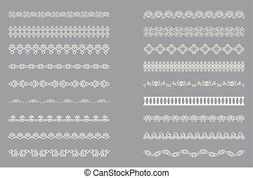 set, kant, witte , vrijstaand, ontwerp, randjes, horizontaal