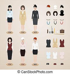 set, kantoor, vrouwen
