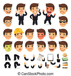 set, karakter, jouw, ontwerp, zakenman, spotprent