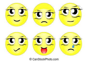 set, karakters, gele, emotico