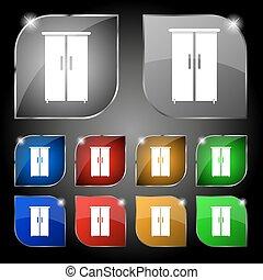 set, kast, kleurrijke, tien, teken., glare., knopen, vector, pictogram