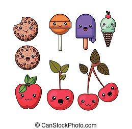 set kawaii style food isolated icon design