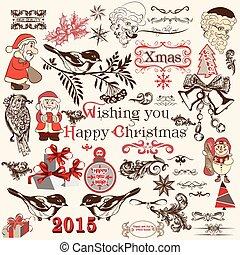 set, kerstmis, decoratief, vector