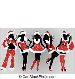 set, kerstmis, girls-vector