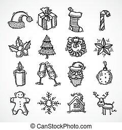 set, kerstmis, iconen