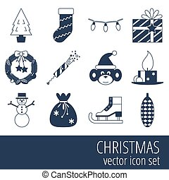 set, kerstmis, pictogram