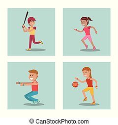 set kids playing physical education school sport image