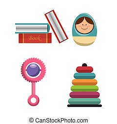 set kids toys icons
