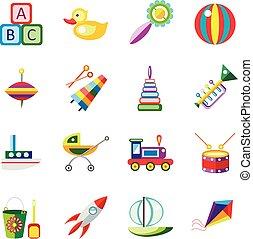 Set kids toys icons isolated