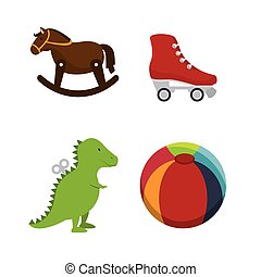 set kids toys icons