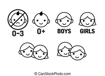 set, kinderen, pictogram