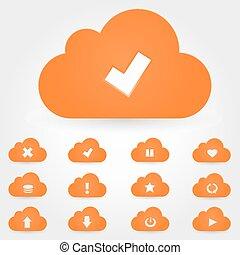 set., kiszámít, felhő, ikon