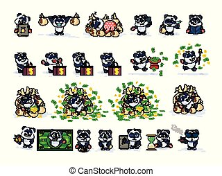Set kit collection panda bear sticker emoticon
