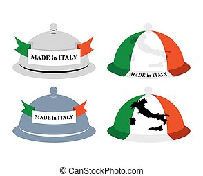 Set kitchen Cloche Italian. Cover for hot dishes with map of Italy. Accessory of Italian cooks. Subject of tableware. Iron cover and plate for eating.