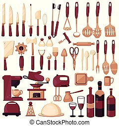 Set kitchen utensils for cooking.