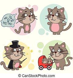 set, kittens., icone, gatto, gatti, illustrazione, bambini, disegno, grasso, mamma, cartone animato, mago, passeggino, magro