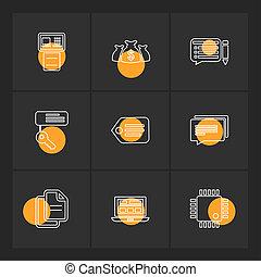 set, klee, iconen, geld, draagbare computer, label, eps, vector, bestand, boodschap, ic, printer