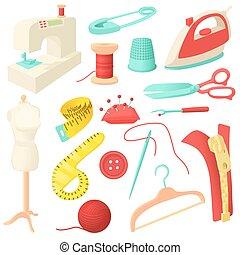 set, kleermakerswerk, iconen, stijl, spotprent